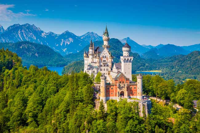 Neuschwanstein castle is a 19th-century treasure located less than 2 hours from Munich.
